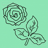 rubber stamp set small rose and leaves