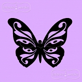 rubber stamp big ornamental butterfly