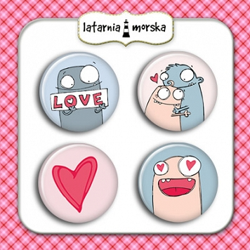 self-adhesive flair buttons Monsters in Love