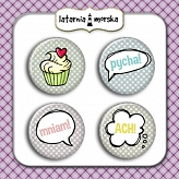 self-adhesive flair buttons Comic Muffins