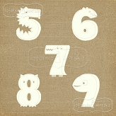 chipboard numbers Lovely Monsters big 5-9