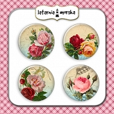 self-adhesive flair buttons - vintage roses #2