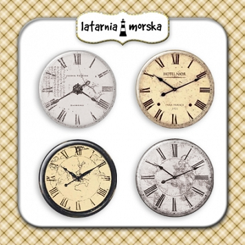self-adhesive flair buttons - vintage clocks
