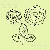 rubber stamp set roses and leaves