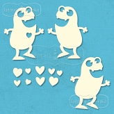 chipboards Monsters in love 12 pieces