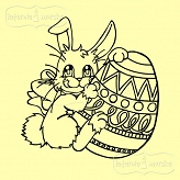 rubber stamp Easter bunny with easter egg