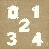 chipboard numbers Lovely Monsters big 0-4