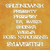 GRUDNIOWNIK Christmas chipboard 9 pieces (Polish words)