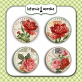 self-adhesive flair buttons - vintage flowers #3