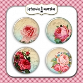 self-adhesive flair buttons - vintage roses #1