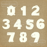 chipboard numbers Lovely Monsters small