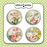 self-adhesive flair buttons - vintage flowers #2