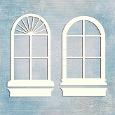 oval romantic windows with flowerboxes 2 pieces