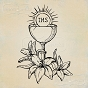 Rubber stamp: a chalice with a host and lilies