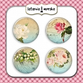 self-adhesive flair buttons - vintage flowers #1