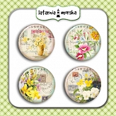 self-adhesive flair buttons - vintage flowers #4