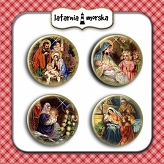 self-adhesive flair buttons - Holy Family / Nativity