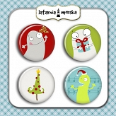 self-adhesive flair buttons - Monster Collection Christmas